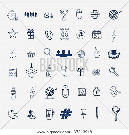 Hand draw social media sign and symbol doodles elements. Concept tweet, hashtag, internet communicat