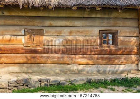Wooden Windows On A  Blockhouse