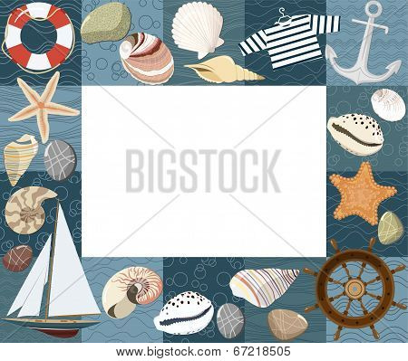 Baby marine photo frame or card. Vector