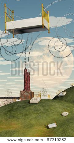 Fantasy Landscape with Floating Bed and factory with text billowing from chimney Text is my own creation