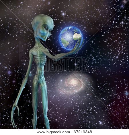 Alien being ponders earth Elements of this image furnished by NASA