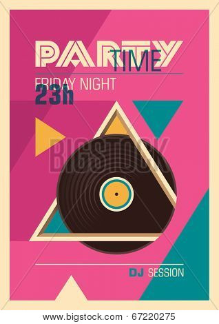Illustrated party poster in color. Vector illustration.