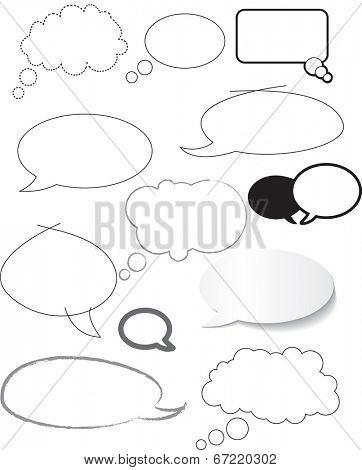 white speech bubbles hand drawn