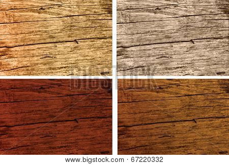different stained colours of old weathered woods