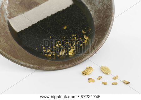 Gold pan with natural placer gold