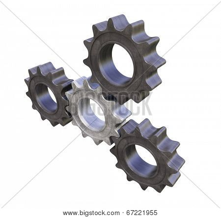 3d gears on white background. Four steel cogwheels