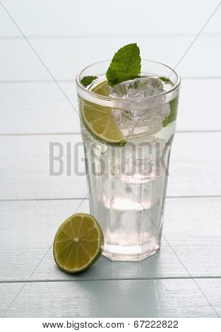 Hugo Cocktail With Lime, Mint And Ice Cubes
