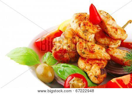 grilled chicken brisket chunks. main course.