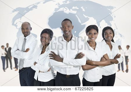 African Business Team With World Map
