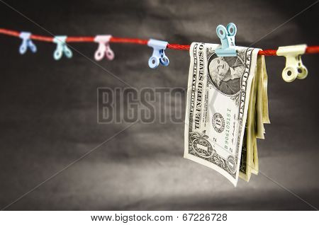 Folded Dollar Bills on a String