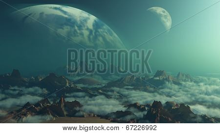 3D space background with terrain and fictional planets