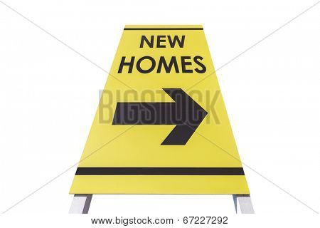 New homes arrow sign isolated with clipping path.