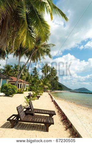 Bamboo beach chairs at resort of Koh Samui Island Thailand