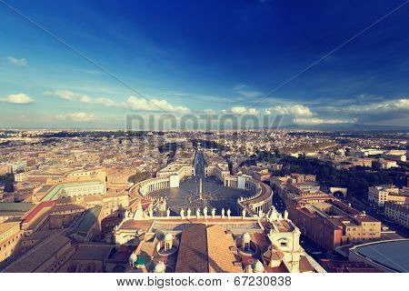 Saint Peter's Square in Vatican, Rome, Italy