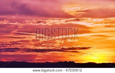 Beach sunset with beautiful colors off the coast of Lido Island, Venice