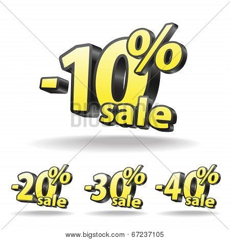 Ten, twenty, thirty, forty percent discount icon on white background. Isolated. Black and yellow. Sa