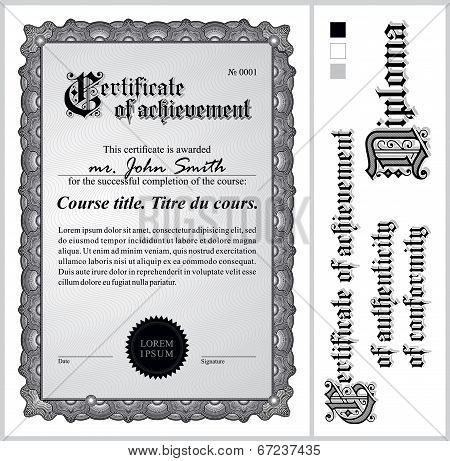 Black and white certificate. Template. Vertical. Additional design elements.