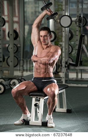 Young Man Doing Exercise For Triceps