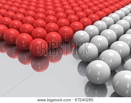 Red and white balls on mirror floor. 3D.
