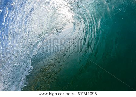 Wave Inside Hollow Tube Swimming Crashing