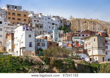 Tangier, Morocco. Old Traditional Colorful Living Houses Of Medina