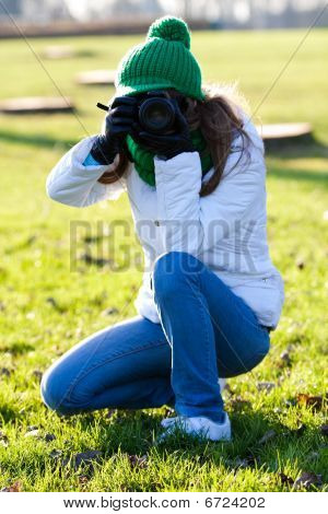 Woman Making Photo Outdoor