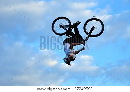 BMX rider bike jumping
