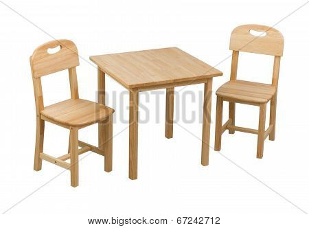 small wooden chairs and desk