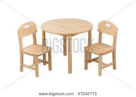 wooden kid chairs and table set