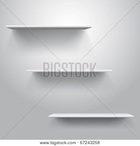 Realistic Triple Book Shelf Template Vector