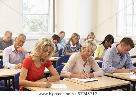 Mixed group of students in class