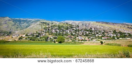 Panoramic view of Dervican village in Albania.