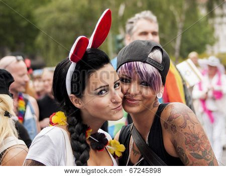 Two Happiness Girls During Gay Pride Parade