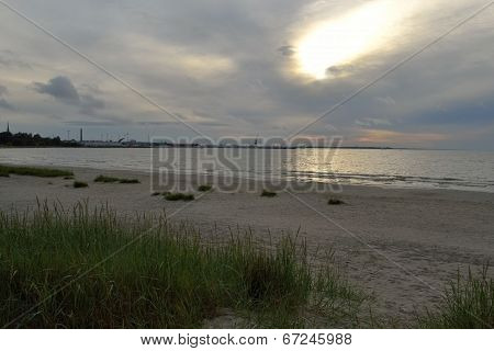embankment on coastline at Baltic Sea