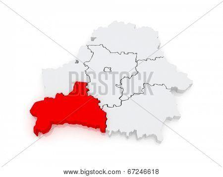 Map of Brest region. Belarus. 3d