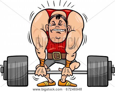 Weightlifting Sportsman Cartoon Illustration