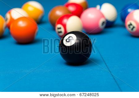 Billiard Balls On Blue Table