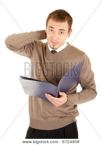Young Well-dressed Thinking Man With Documents