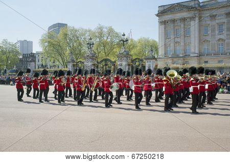 LONDON, UK - APRIL 16, 2014: Changing the Guard at Buckingham Palace in London