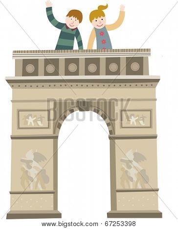The view of triumphal arch in paris