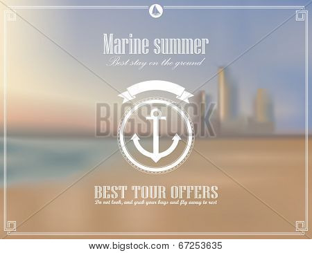 Vector ocean, blurred landscape, interface template. Corporate website design. Hipster web media backdrop. Round badge label over sea background. Website icons. Editable. Blurred. Unfocused. Ocean