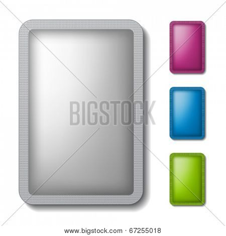 vector sachet packaging silver color