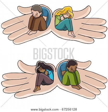An image of hands holding people suffering from depression.