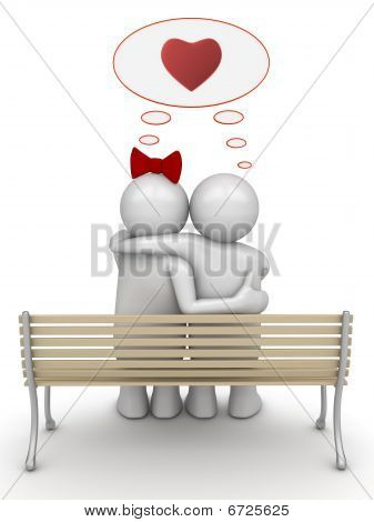 Love thinking embracing couple
