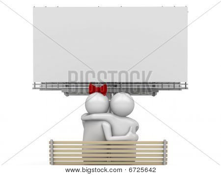 Embracing couple on a bench with copyspace