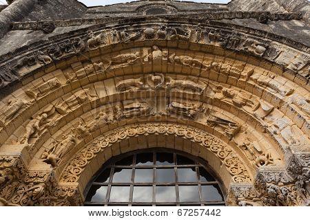 West Facade Archivolts Detail  Of Notre-dame De L'assomption De Fenioux.church , Xii Century