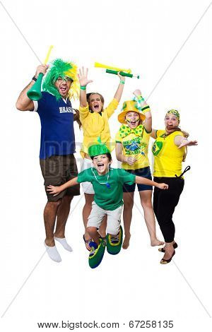 Brazilian fans watching soccer game on white background