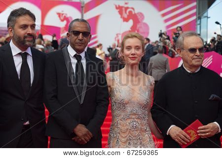 MOSCOW - JUNE, 19: Jury: G.Panfilov F.Petri,A.Sissako,L.Goguashvili. 36st Moscow International Film Festival. Opening Ceremony at Pushkinsky Cinema . June 19, 2014 in Moscow, Russia