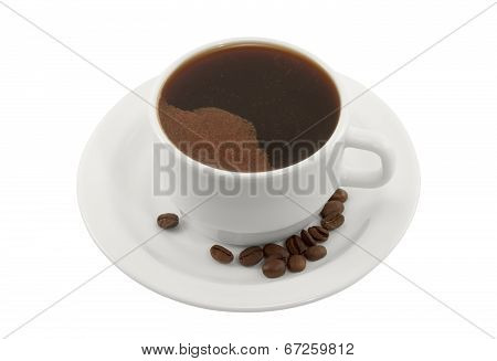 Cup Of Black Coffee On A Saucer With Coffee Beans
