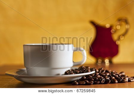 White Cup Of Coffee And Saucer Still Life